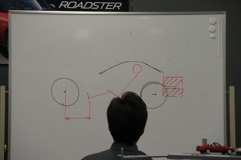 新型ロードスターのスタイリングを絵をかきながら解説。フロントオーバーハングを削るため上面からみたカタチからも無駄をそぎ落とした