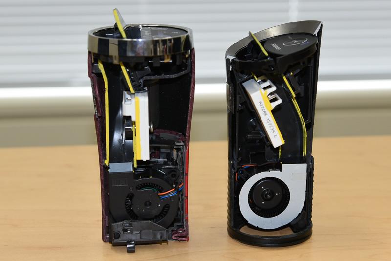 左が従来機種のIG-GC15、右が新機種のIG-HC15。本体下部に配置されたシロッコファンからの送風路が大きく異なっているのが分かる。シロッコファンの形状変更、低消費電力化(5V駆動可能化)により、低消費電力と静音化を両立した
