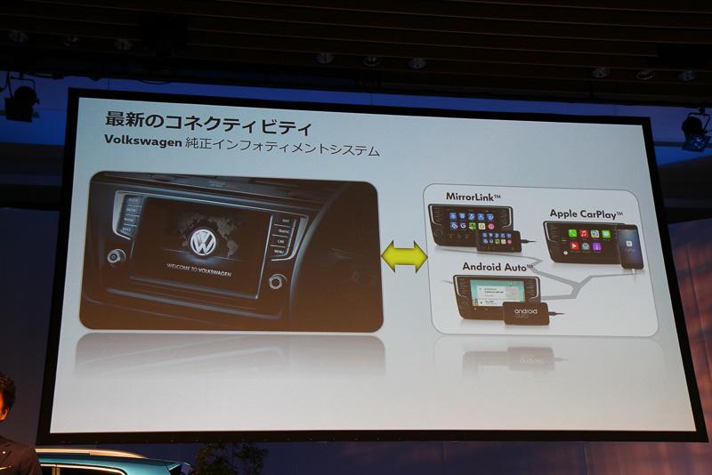 スマートフォンとの通信性を考慮したフォルクスワーゲン独自のインフォテイメントシステムを採用