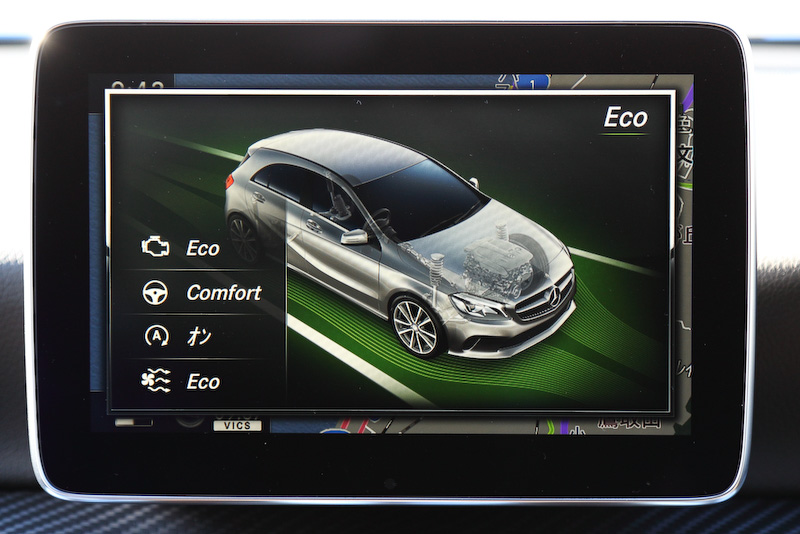 エンジン、トランスミッション、ステアリングなどの特性を統合制御する「ダイナミックセレクト」の表示画面。「コンフォート」「スポーツ」「エコ」に加え、ドライバーが各項目を個別に設定できる「インディビデュアル」の4モードを設定