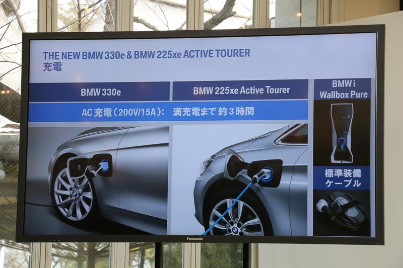 BMW iの「ウォールボックス ピュア」に対応。200Vでの充電が可能で、エンジンも搭載していることから急速充電には対応しない
