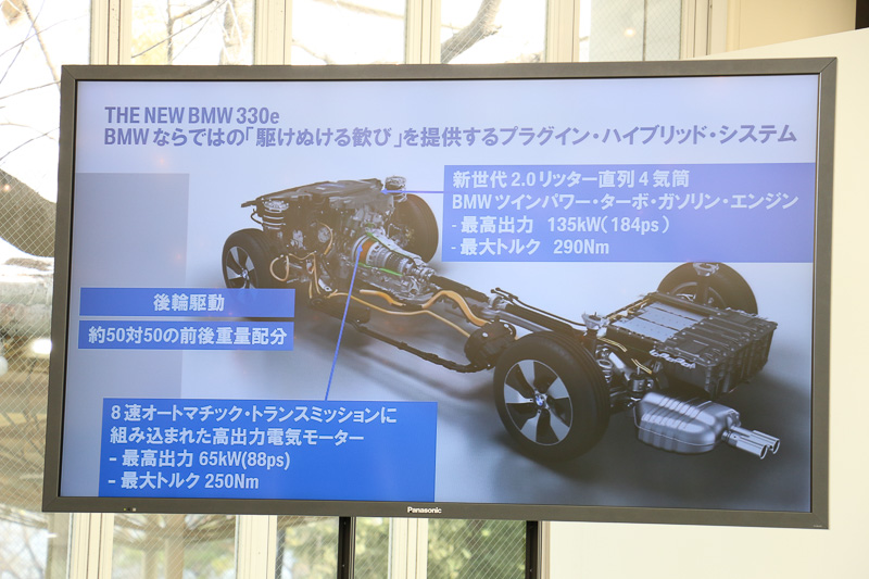 直列4気筒 2.0リッターBMWツインパワー・ターボ・エンジンと8速AT内蔵のモーターの力を組み合わせ、後輪を駆動するFR方式