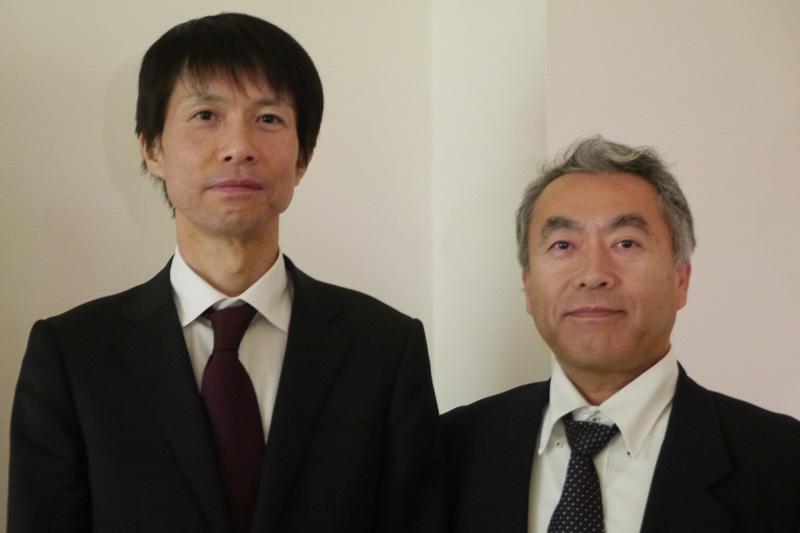 本田技術研究所 HRD Sakura パワーユニット開発室マネージャー・名田悟主任研究員(左)と、本田技術研究所 四輪R&Dセンター デジタル開発推進室 CISブロックの阿久澤憲司主任研究員(右)