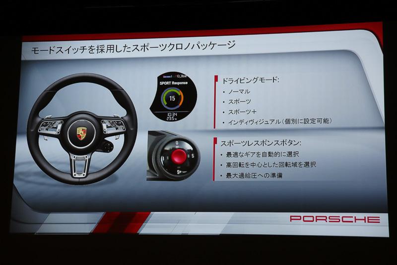 ステアリングに設置されたボタン操作により、4種類のドライビングモードの切り替えやスポーツレスポンスボタンの加速力などを手に入れる