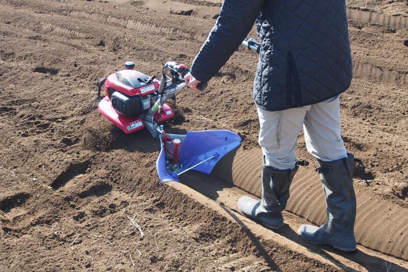「こまめ」に培土器のアタッチメントを装着。耕したあとからすぐに畝立てしていく。車軸ローター式では意識しないと直線走行が難しい