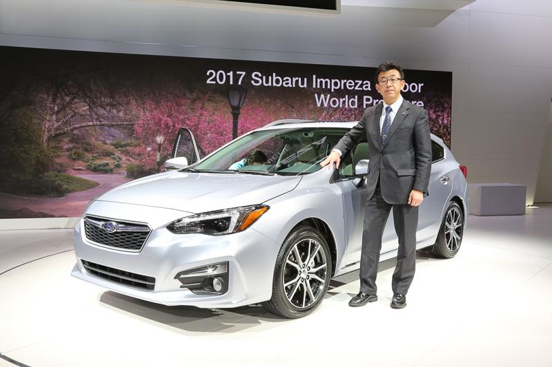 ニューヨーク国際自動車ショーでワールドプレミアされたスバル(富士重工業)新型「インプレッサ」