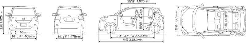 ボディサイズはブーンが3650×1665×1525mm(全長×全幅×全高)、ブーン シルクが3660×1665×1525mm(全長×全幅×全高)で、ホイールベースは共通の2490mm。ホイールベースは先代モデルから50mm拡大され、リアシートの乗員スペースが広げられた