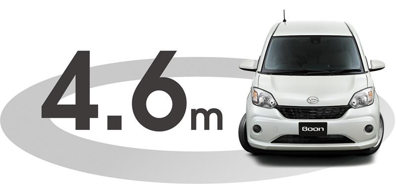 全車で14インチタイヤを装着しながら、最小回転半径を0.1m引き下げた4.6mを実現。市街地などでの使い勝手を高めている