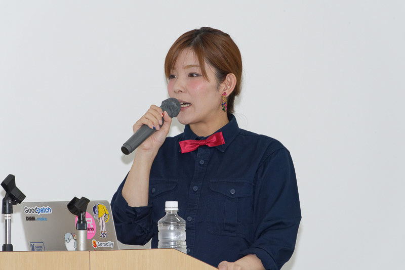 商品説明を行なう株式会社UPQ代表取締役の中澤優子氏