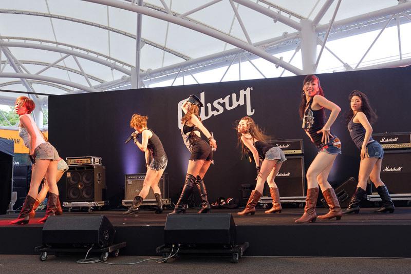 会場では歌と踊りのライブステージが繰り広げられた