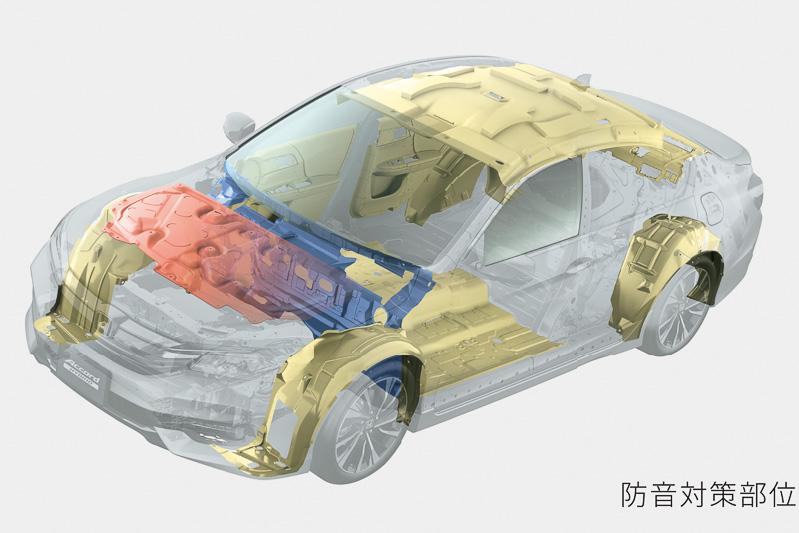 フロアブレースバーの追加やエンジンマウントにダイナミックダンパーを装備することでエンジンノイズを発生源から抑制。さらに吸音材や遮音材の追加でキャビンの静粛性を高めている
