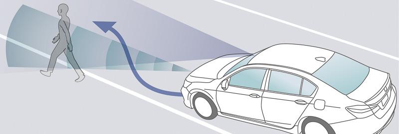 走行中の車線を外れて歩行者との衝突を予測したときにステアリング制御などで回避操作を支援する「歩行者事故低減ステアリング」