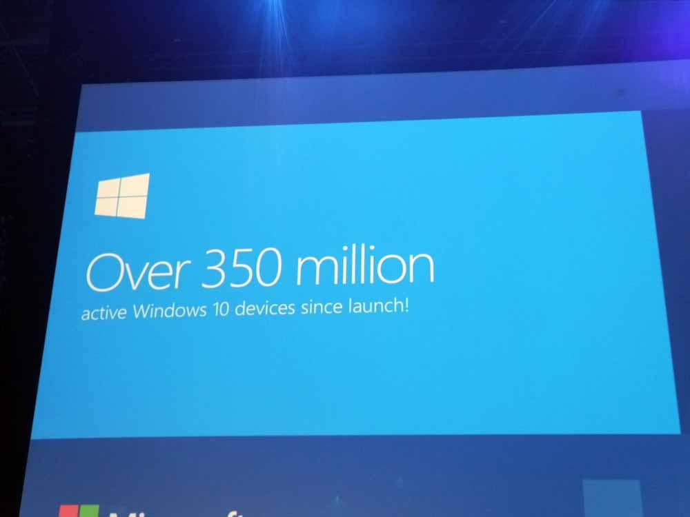 すでに3億5000万人以上がWindows 10を使用しているという