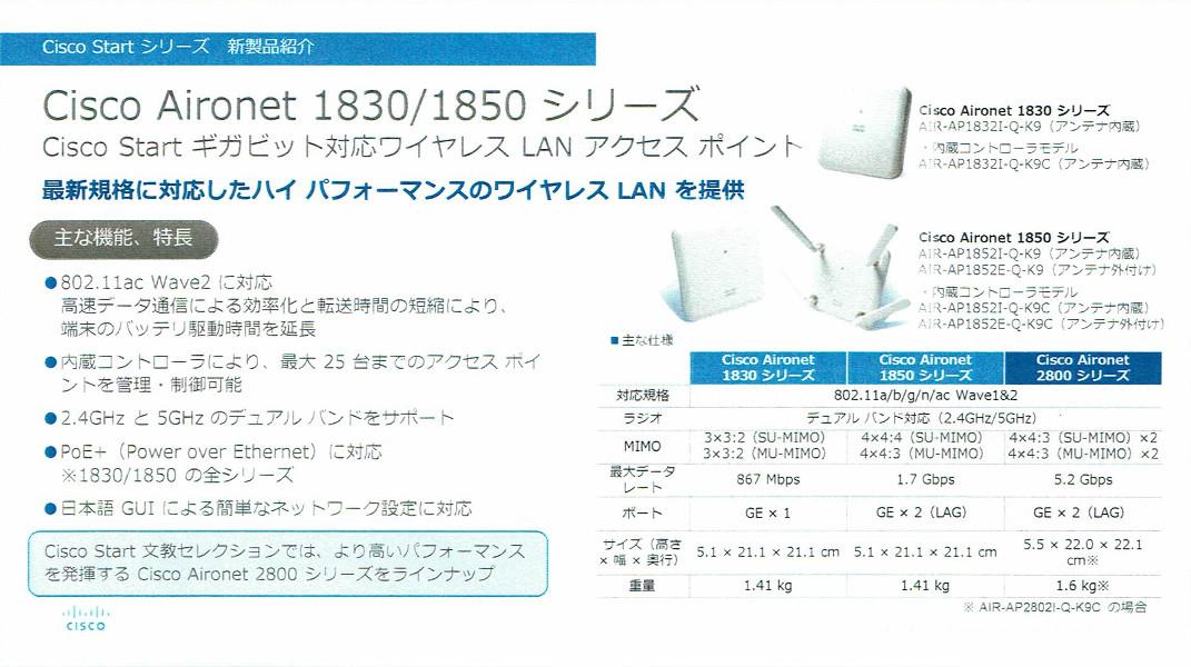 Cisco Aironet 1830/1850シリーズ