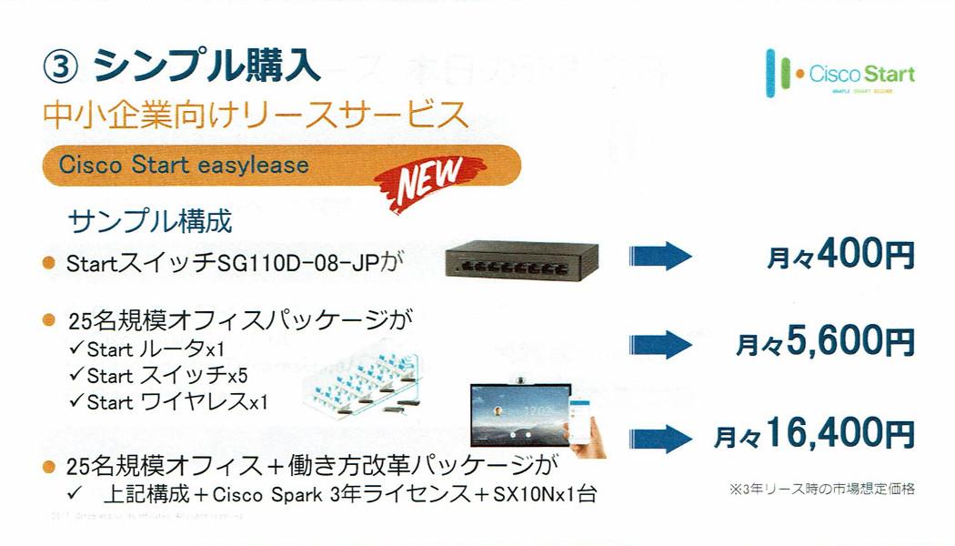 中小企業向けファイナンシャルサービス「Cisco Start easylease」