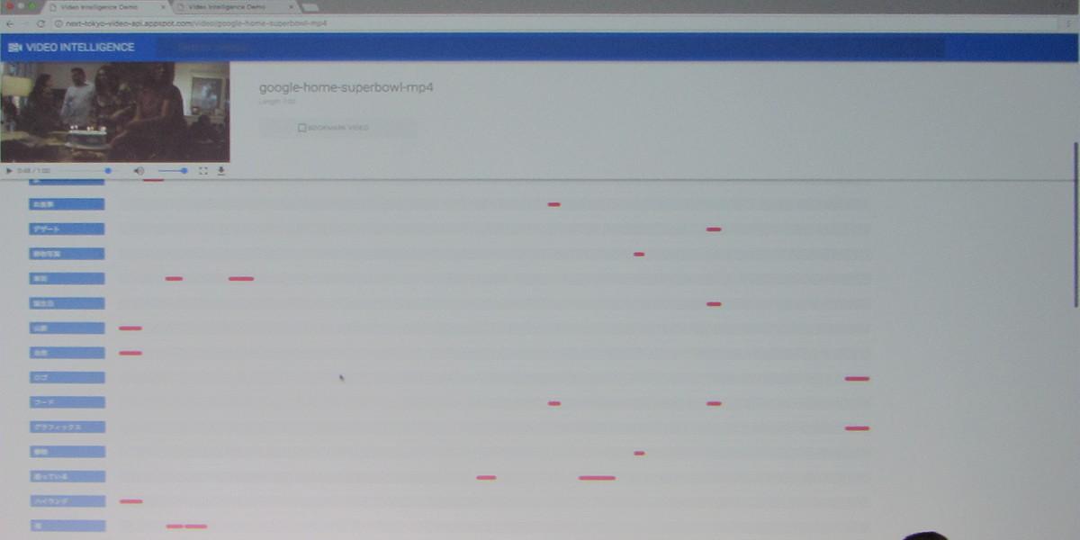 動画認識APIの「Video Intelligence API」のデモ。動画の中に映っている要素をリスト化して表示する