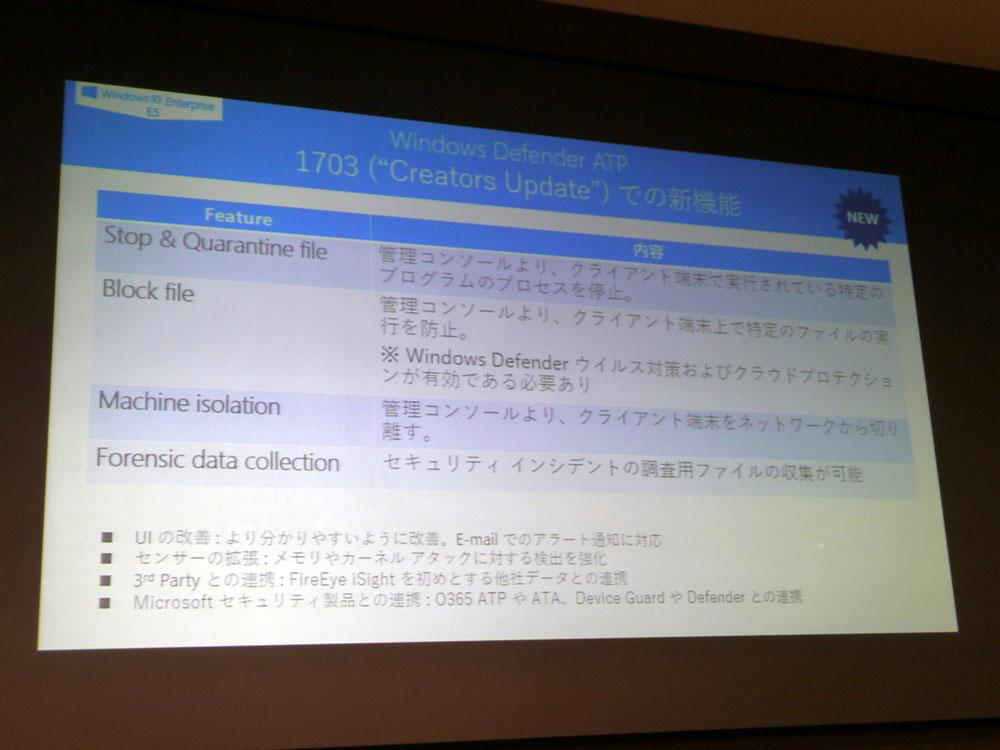 Creators Updateで提供されたDefender ATPの新機能