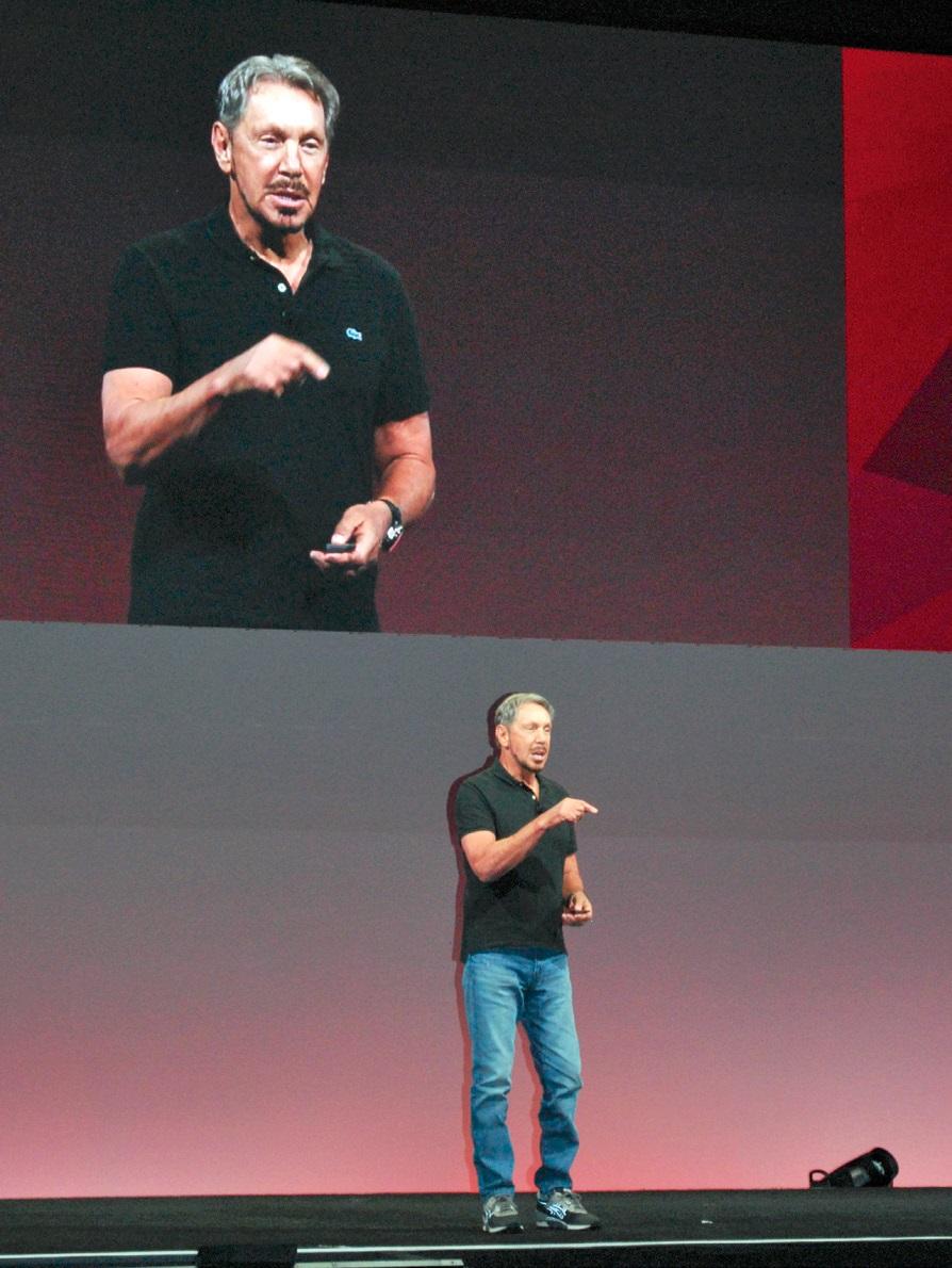 写真1:Oracle OpenWorld 2017の初日の基調講演に立った米オラクル経営執行役会長兼CTOのラリー・エリソン氏
