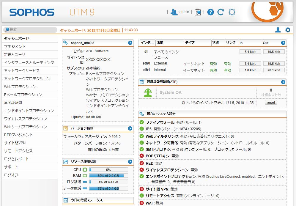 「Sophos UTM」コントロールパネルイメージ