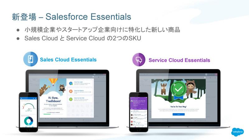 「Sales Cloud Essentials」と「Service Cloud Essentials」。入り口となるメイン画面は異なるが、どちらからも同じ機能を利用できる