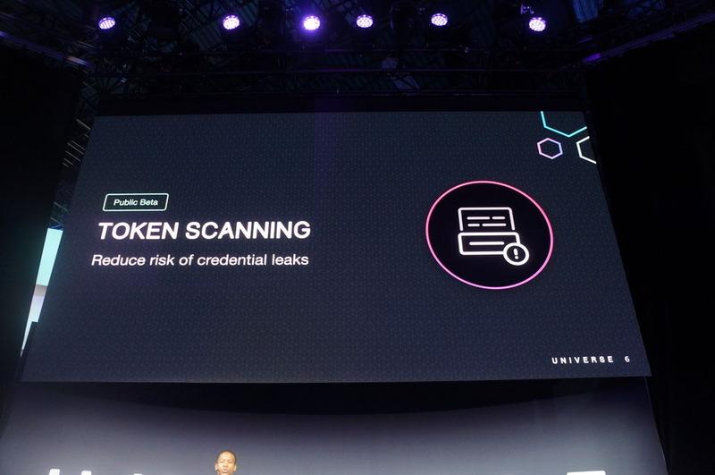 ソースコード中に含まれるアクセストークンを警告する「Token Scanning」(以下、一連の写真はブレークアウトセッションのもの)