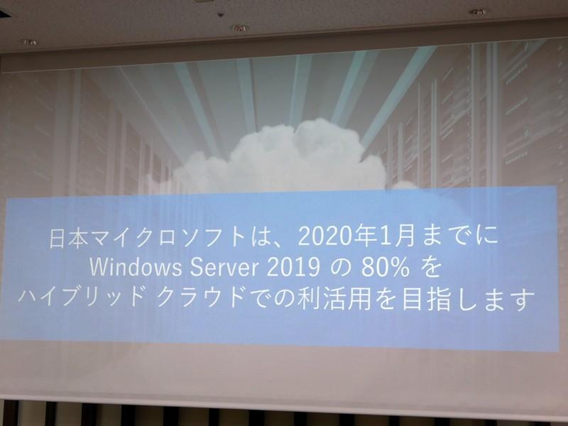 2020年1月までに、Windows Server 2019の80%がハイブリッドクラウド環境で利活用されるように推進するという