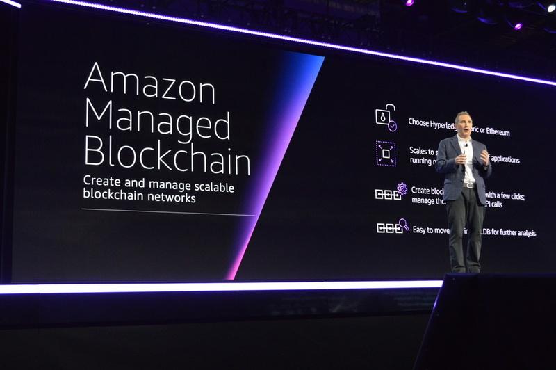 2つ目のブロックチェーンはHyperledgerとEthereumのどちらかを選べるフルマネージドの「Amazon Managed Blockchain」。数回のクリックで容易にブロックチェーンネットワークを構築できる