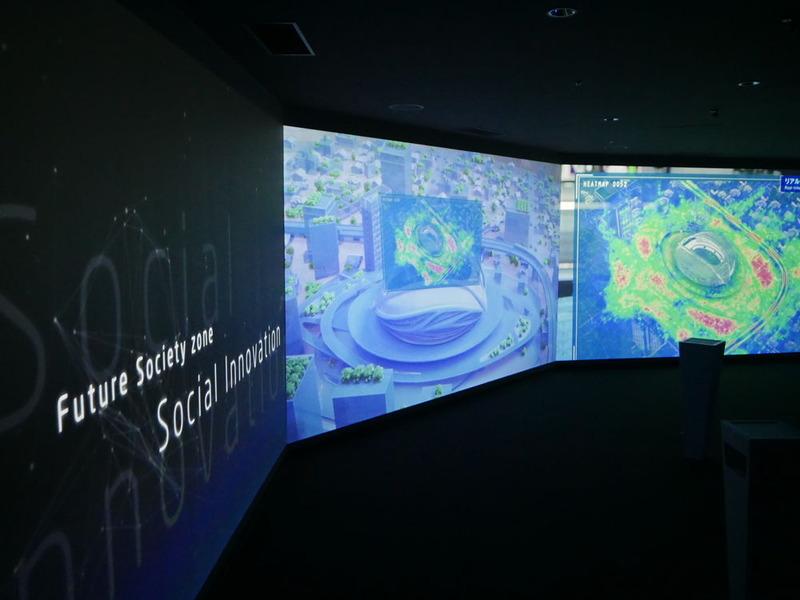 6台のプロジェクターを利用して、270°の画面表示を可能にした「Social Innovation」。医療ソリューションなどを紹介する