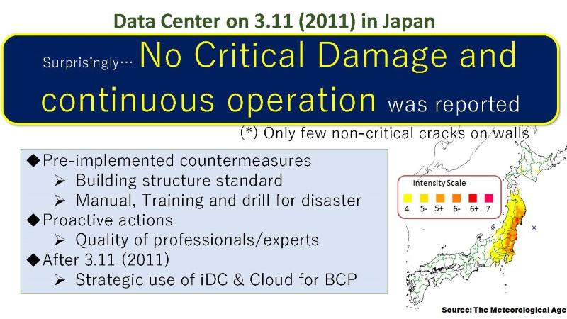 図4:東日本大震災(2011.3.11)でも、深刻な被害を受けたデータセンターはなかった