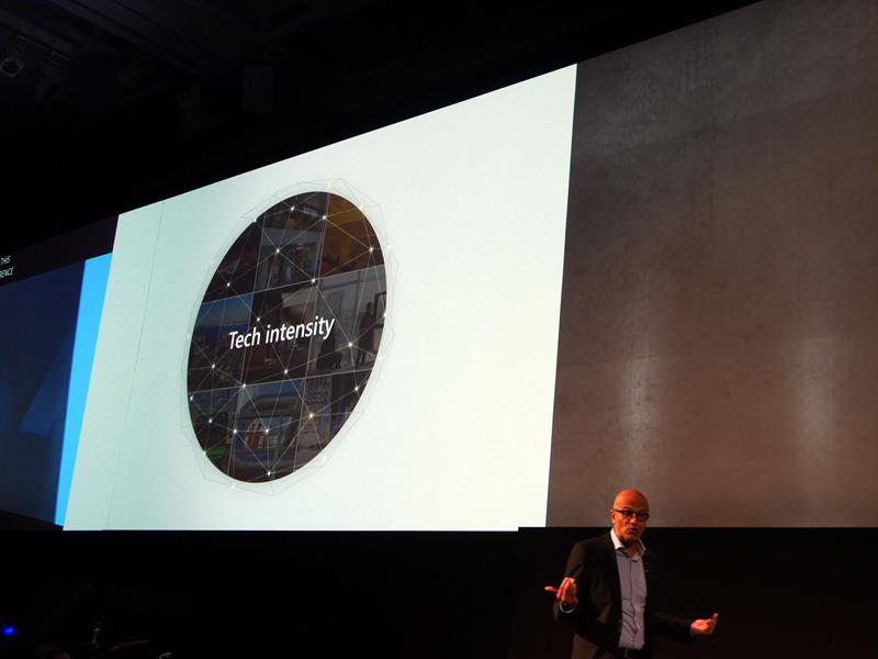 米Microsoftのサティア・ナデラCEO(左)や、日本マイクロソフトの平野拓也社長(右)などが、「Tech Intensity」というキーワードを取り上げるようになった