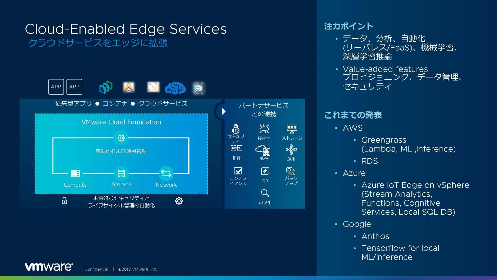 図5:VMware の「Cloud-Enabled Edge Services」。クラウドサービスをエッジ側にも拡張する(出典:VMware)