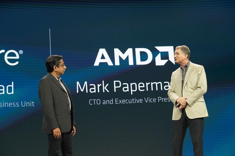 VMware 上席副社長兼クラウドプラットフォームビジネス事業部 事業本部長 クリシュ・パラサド氏(左)。右はAMDの上級副社長兼CTOであるマーク・ペーパーマスター氏