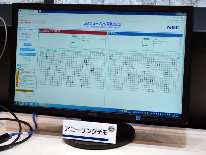 スーパーコンピュータを利用した組み合わせ最適化問題のデモ。初公開の技術だ