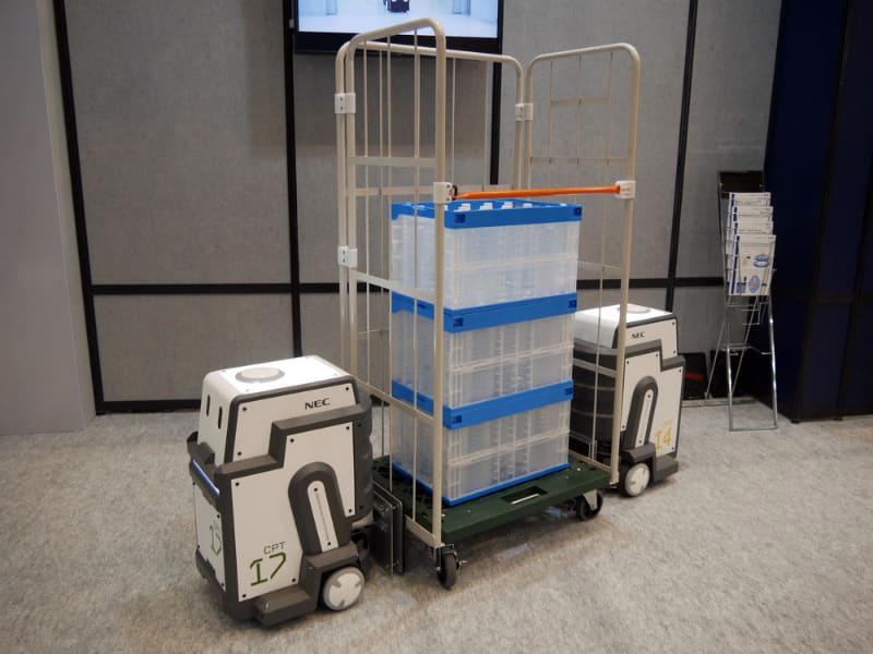 複数のロボットが協調して搬送する「協調搬送ロボ」をデモ