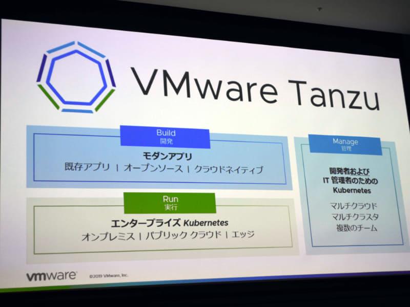 VMware Tanzuの構成コンポーネント。このうち実行環境のProject Pacificと管理環境のTanzu Mission Controlはベータ提供が開始されている