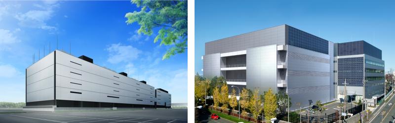 富士通の館林データセンター(左)と横浜データセンター(右)<br />・JDCCティア4相当の国内最高水準データセンター<br />・業界最高水準の高集積対応<br />・富士通CE24時間常駐<br />・パーツ倉庫装備<br />・金融機関等 大型システムの豊富なサポート実績