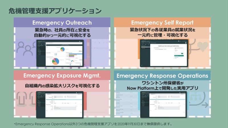 ServiceNowが無償提供している4つの危機管理支援アプリケーションのうち、Emergency Response Operationsを除く3種類が日本語版として提供を開始した