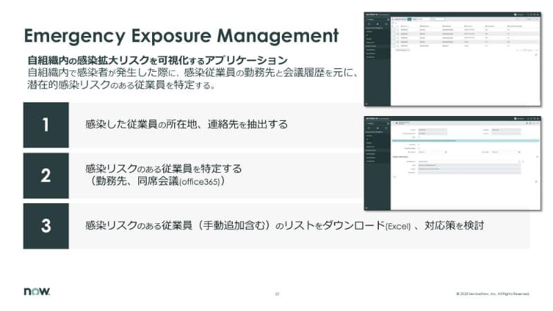 Emergency Exposure Managementは、感染が確認された従業員と濃厚接触した可能性がある人物を特定する