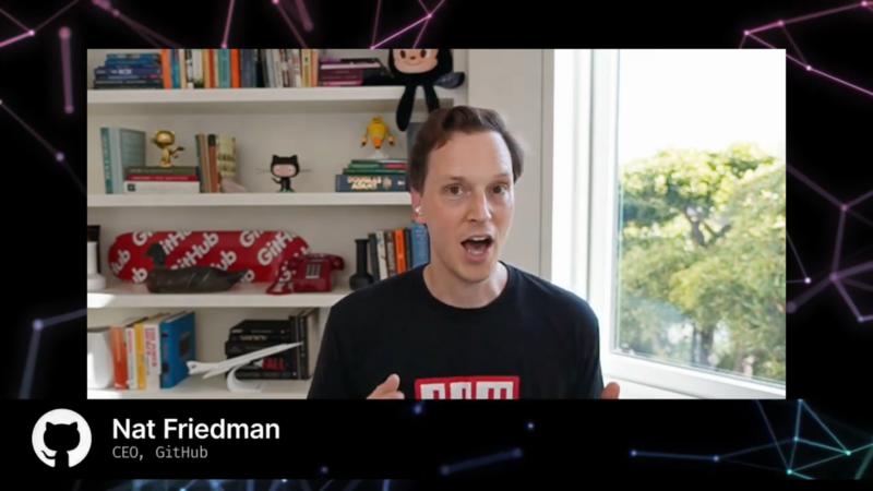 GitHubのCEOのNat Friedman氏。自宅からnpm(3月にGitHubが買収)のTシャツ姿で登場した