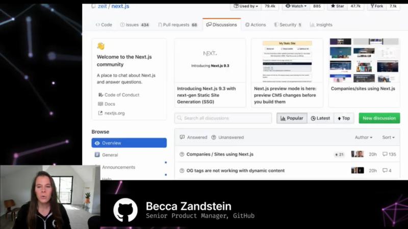 GitHub Discussionの画面。リポジトリの「Discussions」タブで表示