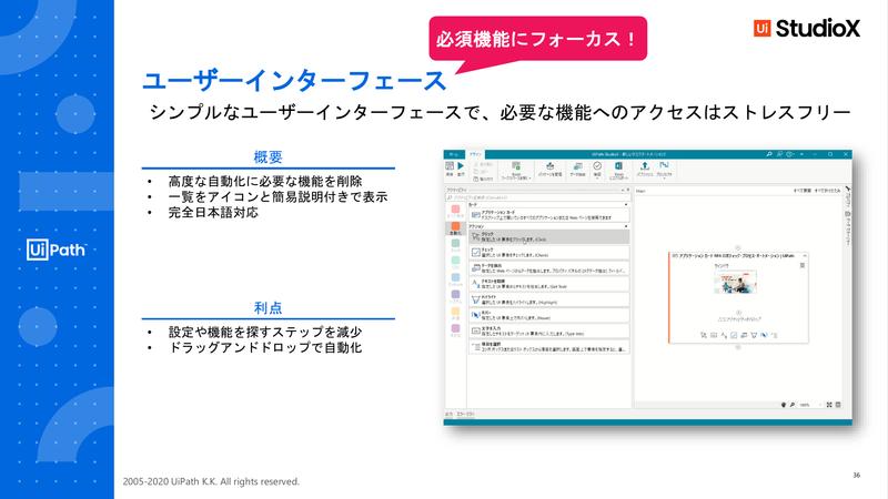 StudioXのシンプルなユーザーインターフェイス