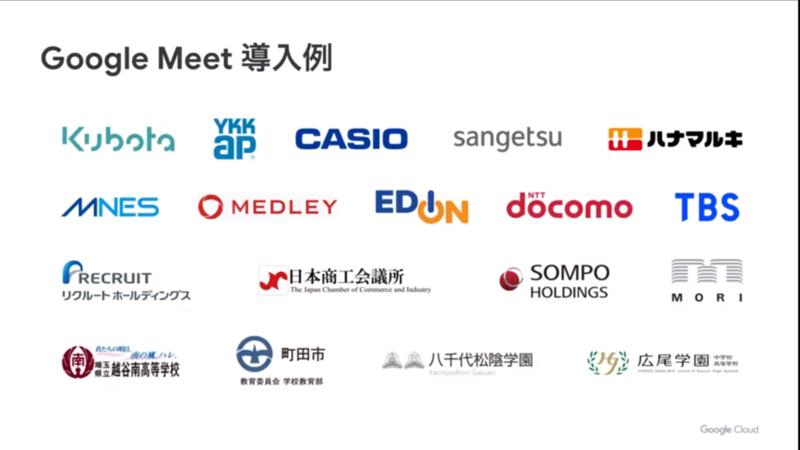Google Meetの採用企業の例