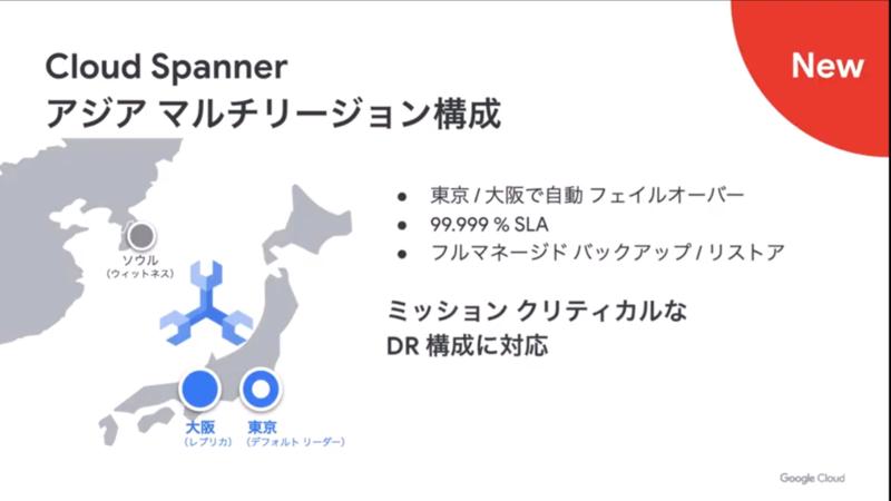 Cloud Spannerがアジアでのマルチリージョン構成に対応(再掲)