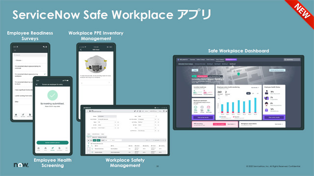 従業員の安全な職場復帰を支援する「ServiceNow Safe Workplace」は4つのアプリケーションと、アプリケーションをリアルタイムに可視化し一元的に管理するダッシュボードから構成される。ダッシュボードは無償だが、現時点では英語版のみの提供となる