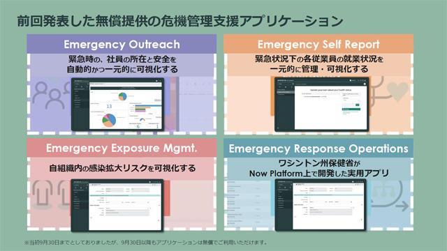 ServiceNowが3月にリリースした危機対策アプリは当初、9月30日まで無償提供の予定だったが、それ以降も引き続き無償で利用できるようになった