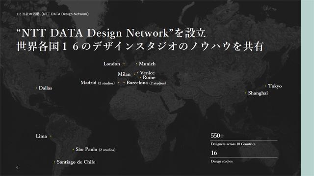 NTTデータは10カ国16拠点にまたがるデザインスタジオを連携したNTT DATA Design Networkを構築しており、デザインビジネスにおける事例やノウハウをグローバルで共有する