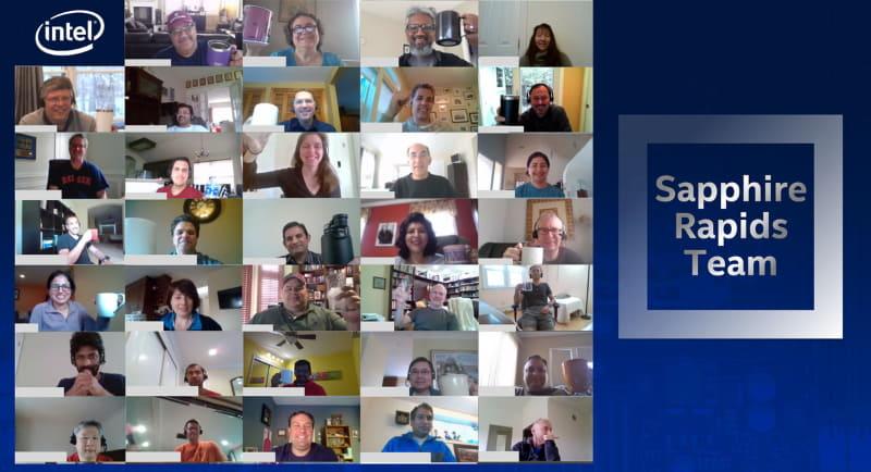 Sapphire Rapidsが起動して祝杯をあげるIntelの開発チーム(出典:Intel)