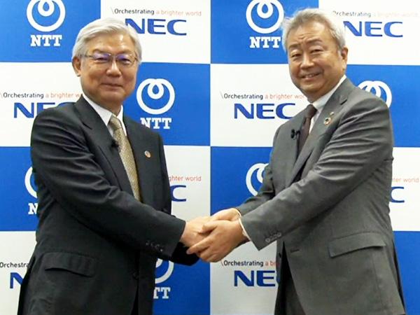 NEC 代表取締役執行役員社長兼CEOの新野隆氏(左)と、NTT 代表取締役社長 社長執行役員の澤田純氏(右)