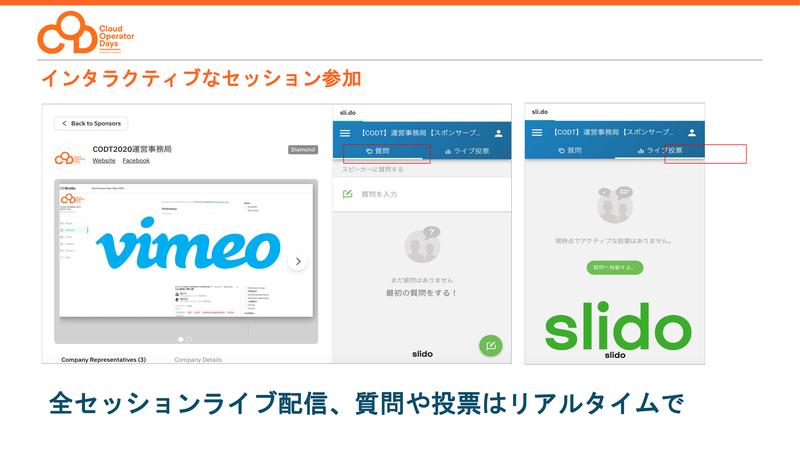 動画配信はVimeoで、インタラクティブな参加はSlidoで