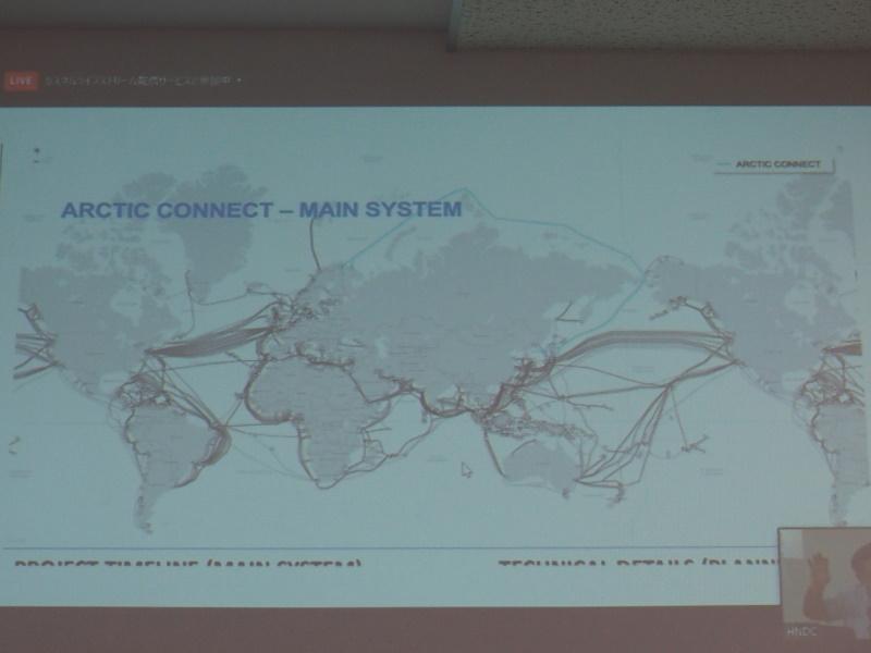 北極海海底ケーブルの敷設計画(北極海を経由する水色のライン)